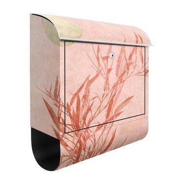 Briefkasten - Goldene Sonne mit Rosa Bambus