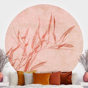 Runde Tapete selbstklebend - Goldene Sonne mit Rosa Bambus