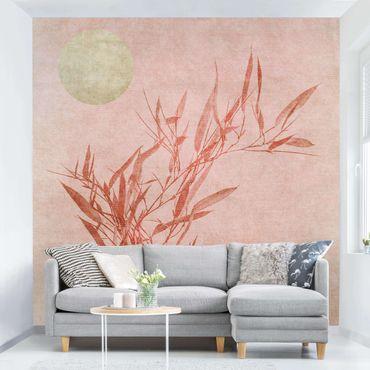 Fototapete - Goldene Sonne mit Rosa Bambus
