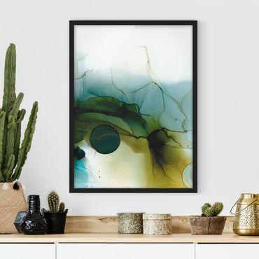 Bild mit Rahmen - Goldener Waldspaziergang - Hochformat