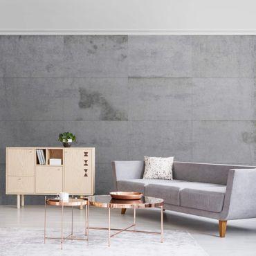 Metallic Tapete  - Große Betonplatten
