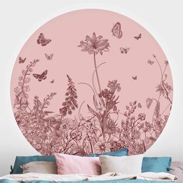Runde Tapete selbstklebend - Große Blumen mit Schmetterlingen auf Rosa