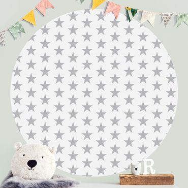 Runde Tapete selbstklebend - Große graue Sterne auf Weiß