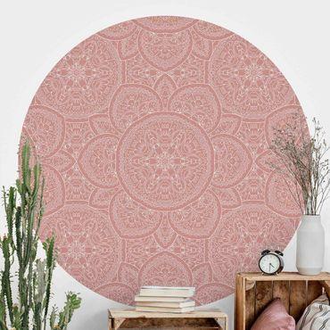 Runde Tapete selbstklebend - Große Mandala Muster in Altrosa