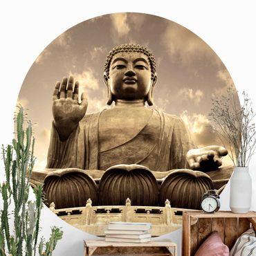 Runde Tapete selbstklebend - Großer Buddha Sepia