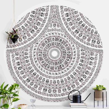 Runde Tapete selbstklebend - Großes Boho Mandala in Braunschwarz