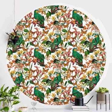 Runde Tapete selbstklebend - Grüne Papageien mit tropischen Schmetterlingen