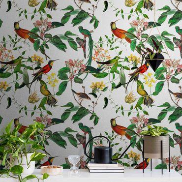 Metallic Tapete  - Grüne und rote Kolibris Tropisch
