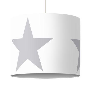 Hängelampe - Große graue Sterne auf Weiß
