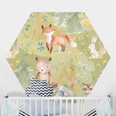 Hexagon Mustertapete selbstklebend - Hase und Fuchs auf Grüner Wiese