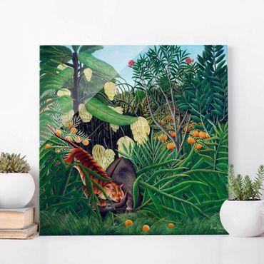 Glasbild - Henri Rousseau - Kampf zwischen Tiger und Büffel - Quadrat