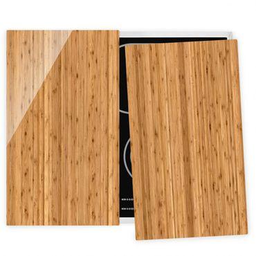 Herdabdeckplatte Glas - Bambus