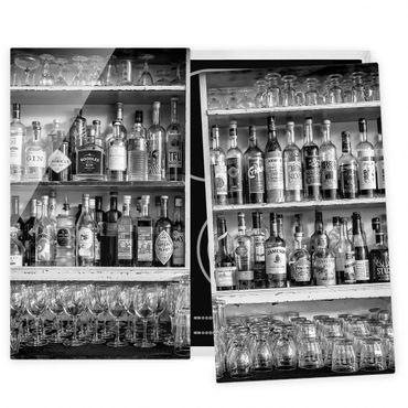 Herdabdeckplatte Glas - Bar Schwarz Weiß