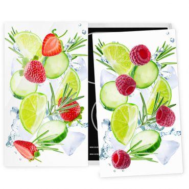 Herdabdeckplatte Glas - Beeren und Gurken Eiswürfel Splash