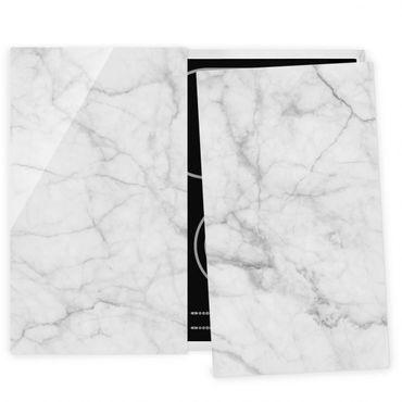 Herdabdeckplatte Glas - Bianco Carrara