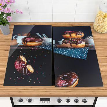 Herdabdeckplatte Glas - Donuts vom Küchenregal