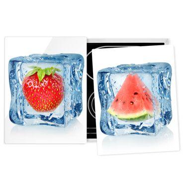 Herdabdeckplatte Glas - Erdbeere und Melone im Eiswürfel