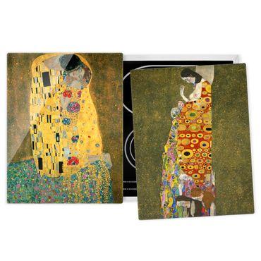 Herdabdeckplatte Glas - Gustav Klimt - Kuss und Hoffnung