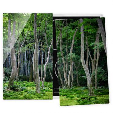 Herdabdeckplatte Glas - Japanischer Wald