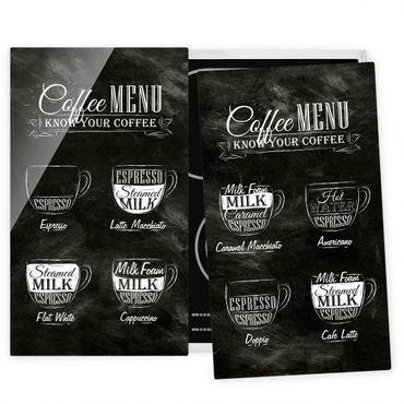 Herdabdeckplatte Glas - Kaffeesorten Kreidetafel