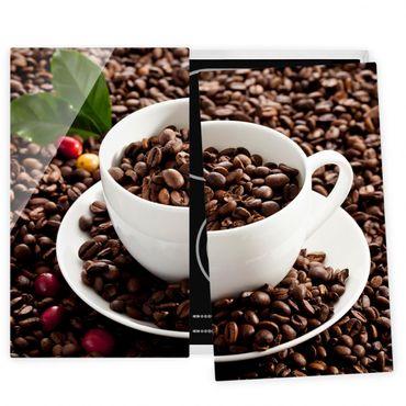 Herdabdeckplatte Glas - Kaffeetasse mit gerösteten Kaffeebohnen