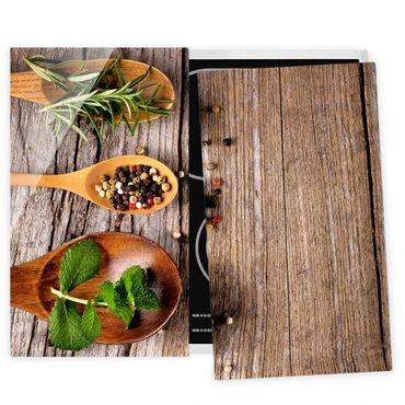 Herdabdeckplatte Glas - Kräuter und Gewürze