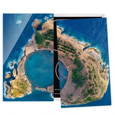 Herdabdeckplatte Glas - Luftbild - Die Insel Vila Franca do Campo - 52x60cm