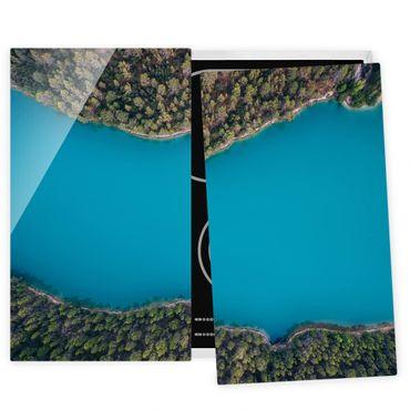 Herdabdeckplatte Glas - Luftbild - Tiefblauer See - 52x60cm