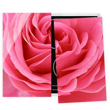 Herdabdeckplatte Glas - Lustful Pink Rose