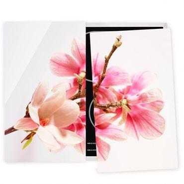 Herdabdeckplatte Glas - Magnolienblüten