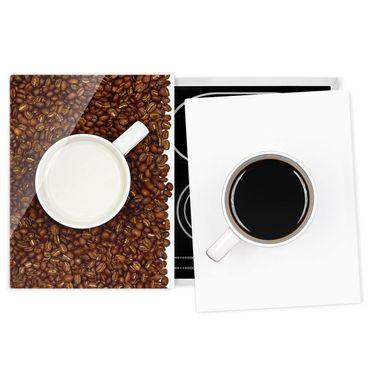 Herdabdeckplatte Glas - Milchkaffee