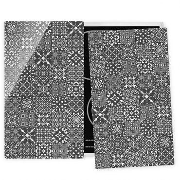 Herdabdeckplatte Glas - Musterfliesen Dunkelgrau Weiß