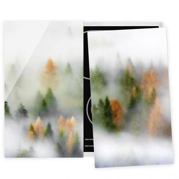 Herdabdeckplatte Glas - Nebelwald im Herbst - 52x60cm