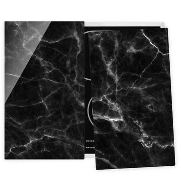 Herdabdeckplatte Glas - Nero Carrara
