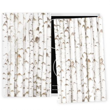 Herdabdeckplatte Glas - Birkenwand