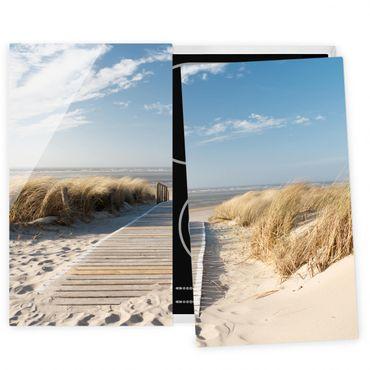 Herdabdeckplatte Glas - Ostsee Strand