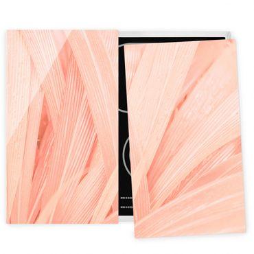 Herdabdeckplatte Glas - Palmenblätter Rosa