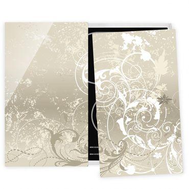 Herdabdeckplatte Glas - Perlmutt Ornament Design