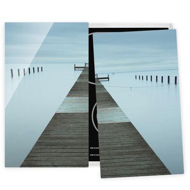 Herdabdeckplatte Glas - Pier in Schweden - 52x60cm