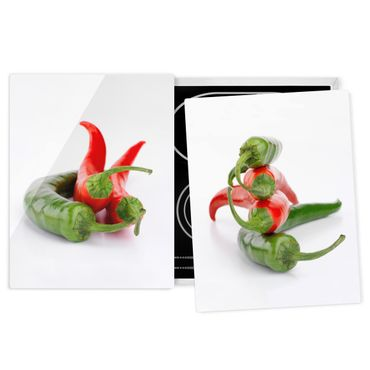 Herdabdeckplatte Glas - Rote und grüne Peperoni