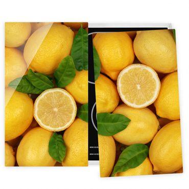 Herdabdeckplatte Glas - Saftige Zitronen
