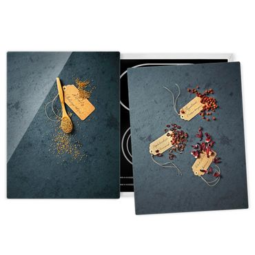 Herdabdeckplatte Glas - Samen und Blütenblätter