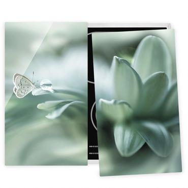 Herdabdeckplatte Glas - Schmetterling und Tautropfen in Pastellgrün - 52x60cm