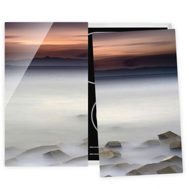 Herdabdeckplatte Glas - Sonnenuntergang im Nebel - 52x60cm
