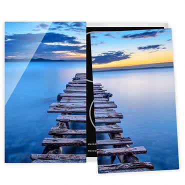 Herdabdeckplatte Glas - Steg ins ruhige Meer