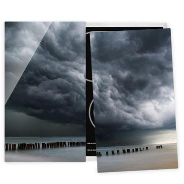 Herdabdeckplatte Glas - Sturmwolken über der Ostsee - 52x60cm
