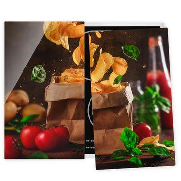 Herdabdeckplatte Glas - Tomate-Basilikum-Snack