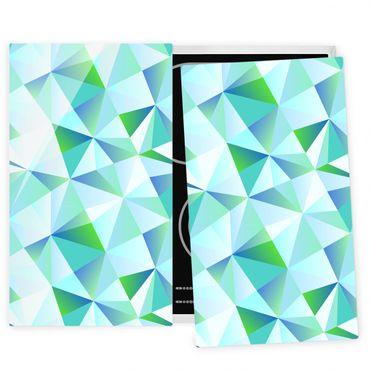 Herdabdeckplatte Glas - Vektormuster Türkis