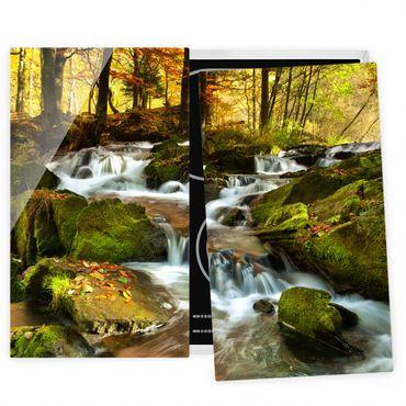 Herdabdeckplatte Glas - Wasserfall herbstlicher Wald