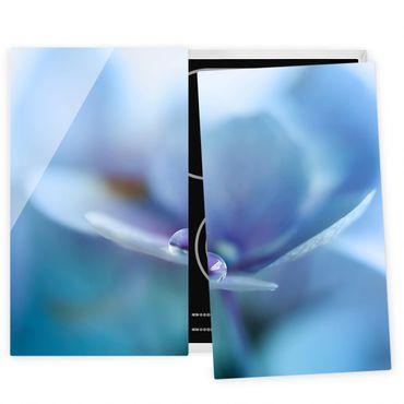Herdabdeckplatte Glas - Wassertropfen Hortensienblüte - 52x60cm